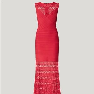 NWT Herve Leger mixed diamond pointelle red gown